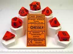 Chessex polydice set, Opaque Orange w/black