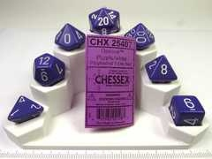 Chessex polydice set, Opaque purple w/white