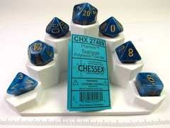 Set 7 polydice, Phantom teal w/gold