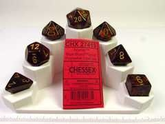 Set 7 polydice, Scarab Blue Blood w/gold