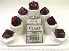 Set 7 polydice, Velvet black w/red
