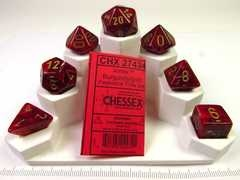 Set 7 polydice, Vortex burgundy w/gold