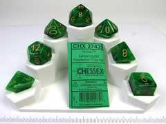 Set 7 polydice, Vortex green w/gold