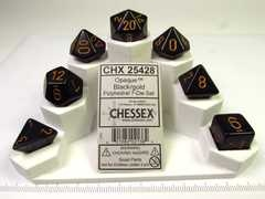 Chessex polydice set, Opaque black w/gold