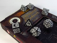 Steampunk Clockwork polydice set, zwart met wit