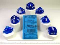 Translucent Blue w/white polydice set