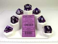 Chessex Translucent Purple w/white polydice set